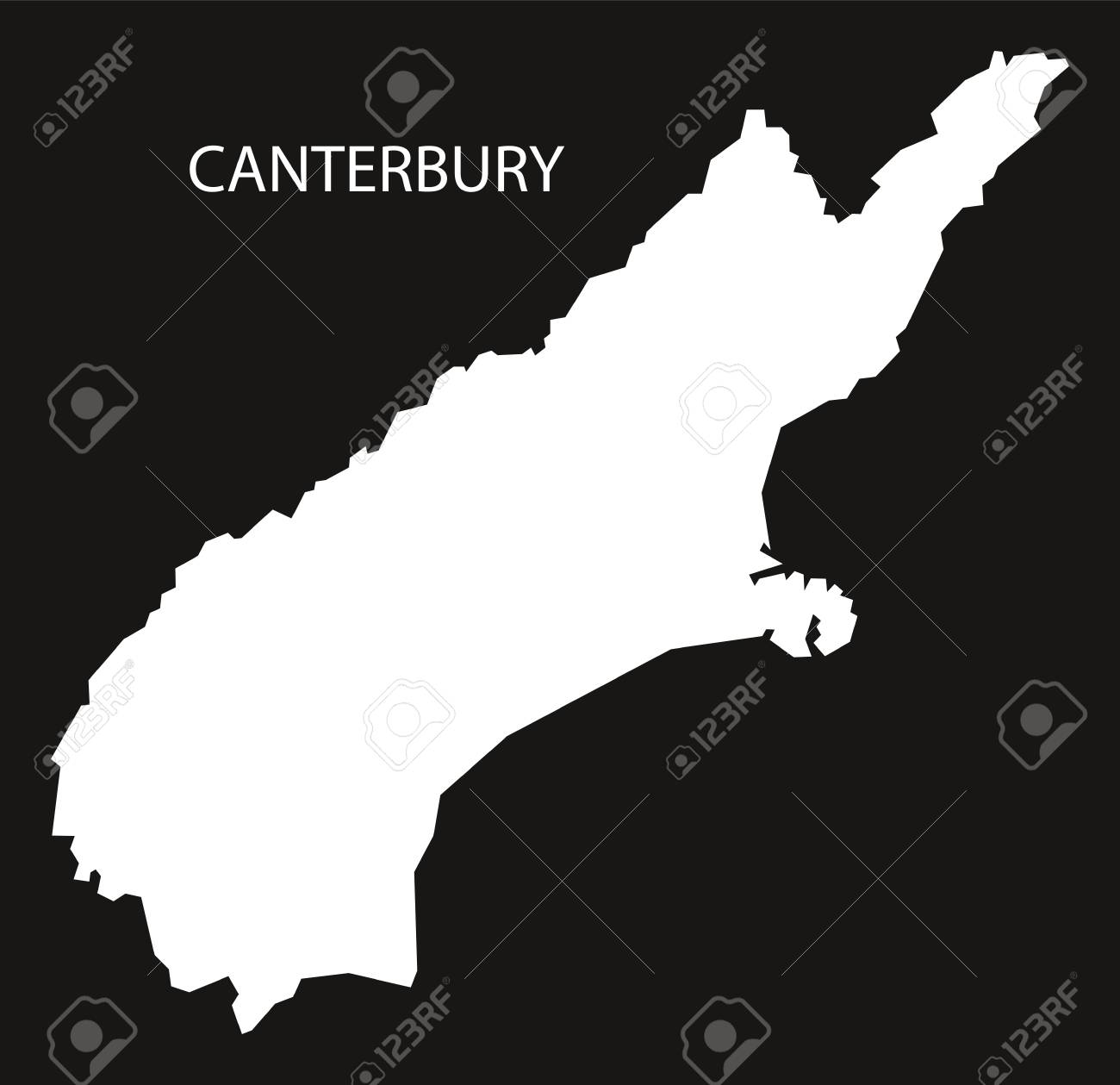 Map Of Canterbury New Zealand.Canterbury New Zealand Map Black Inverted Silhouette Illustration