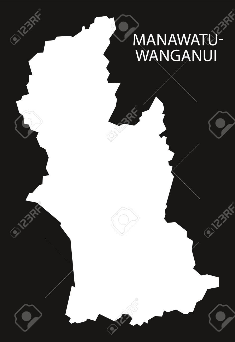 Wanganui New Zealand Map.Manawatu Wanganui New Zealand Map Black Inverted Silhouette Illustration