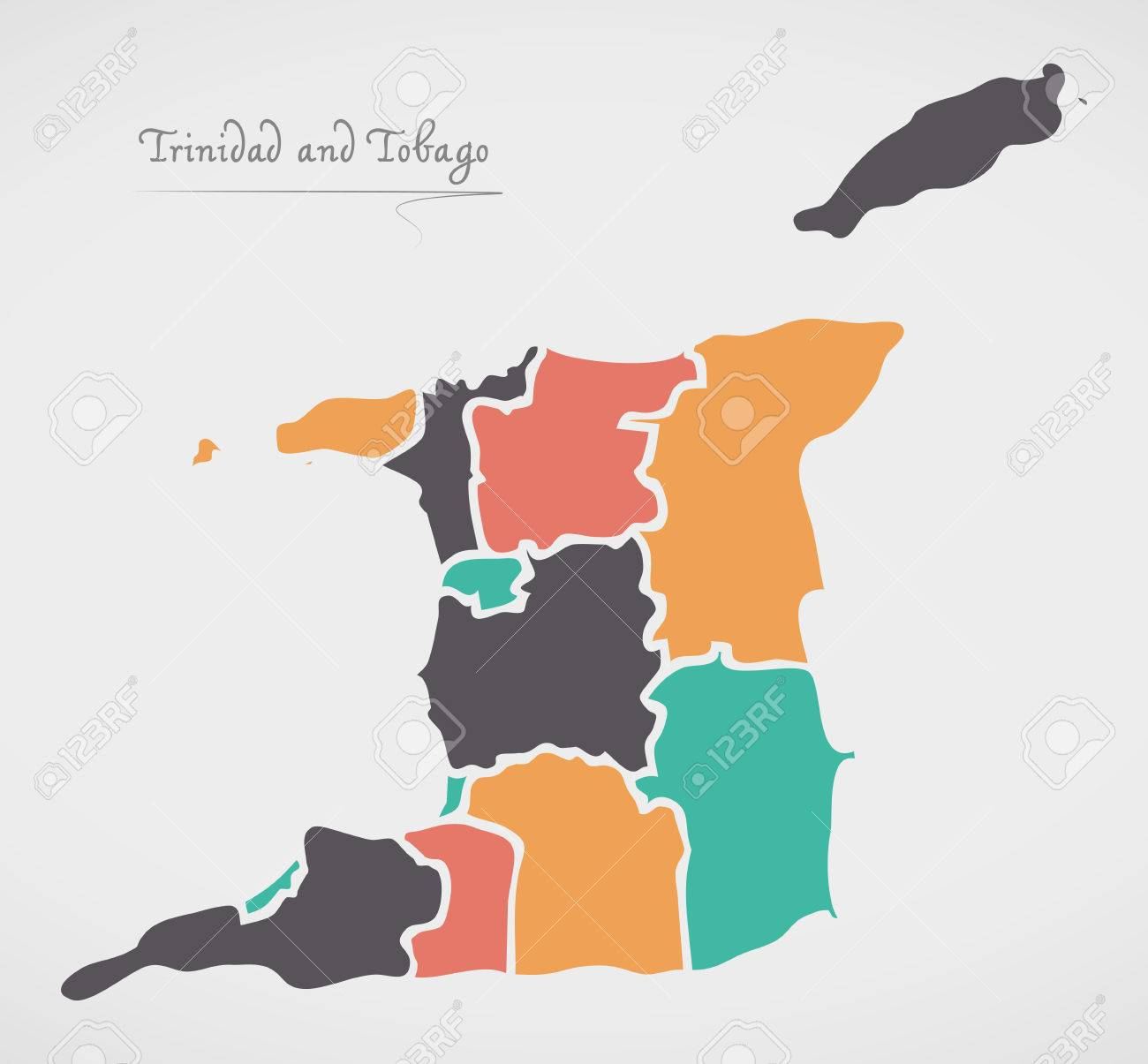 Trinidad and Tobago Map with states and modern round shapes - 81437565