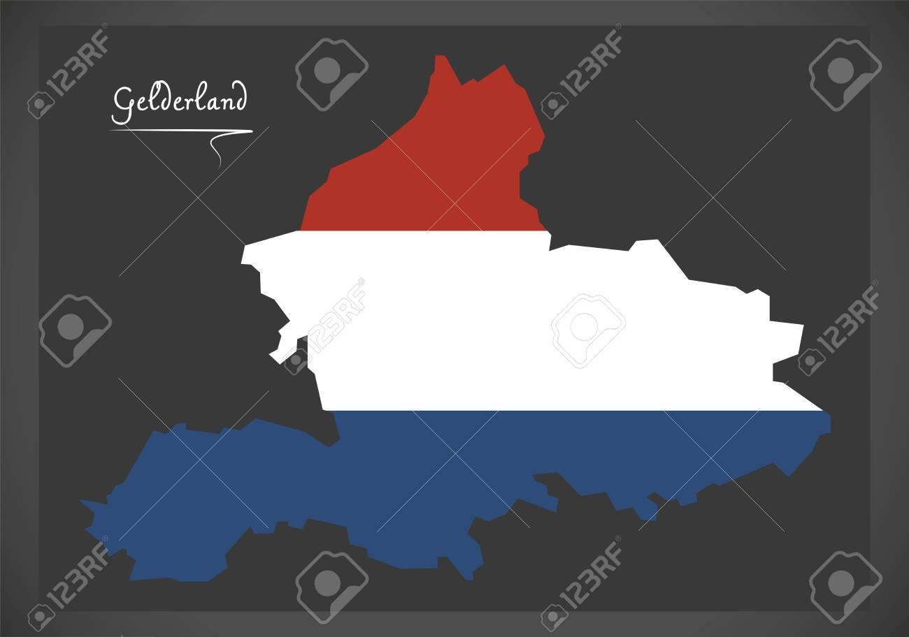 Gelderland Netherlands Map With Dutch National Flag Illustration