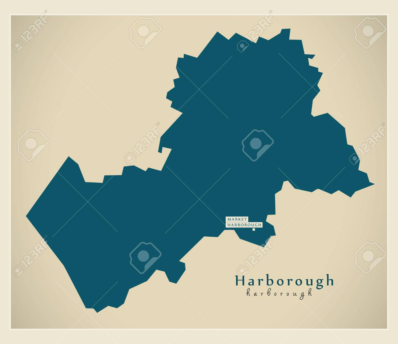 Leicestershire Uk Map.Modern Map Harborough District Of Leicestershire England Uk