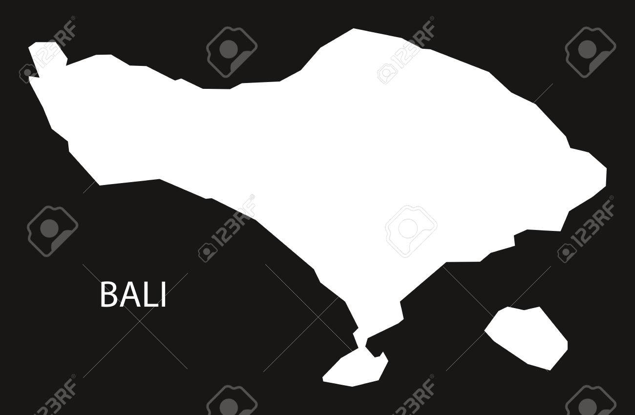 Bali Indonesia map black inverted silhouette illustration