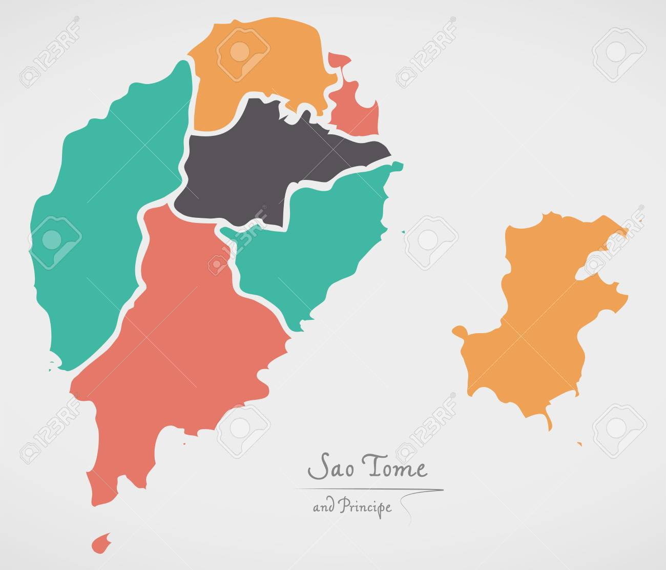 Sao tome and principe map with states and modern round shapes sao tome and principe map with states and modern round shapes stock vector 82438973 gumiabroncs Choice Image