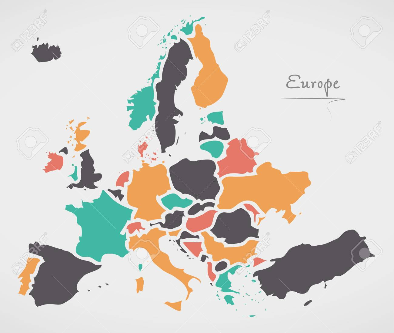 Mainland Europe Map.Europe Mainland Map With States And Modern Round Shapes Royalty Free