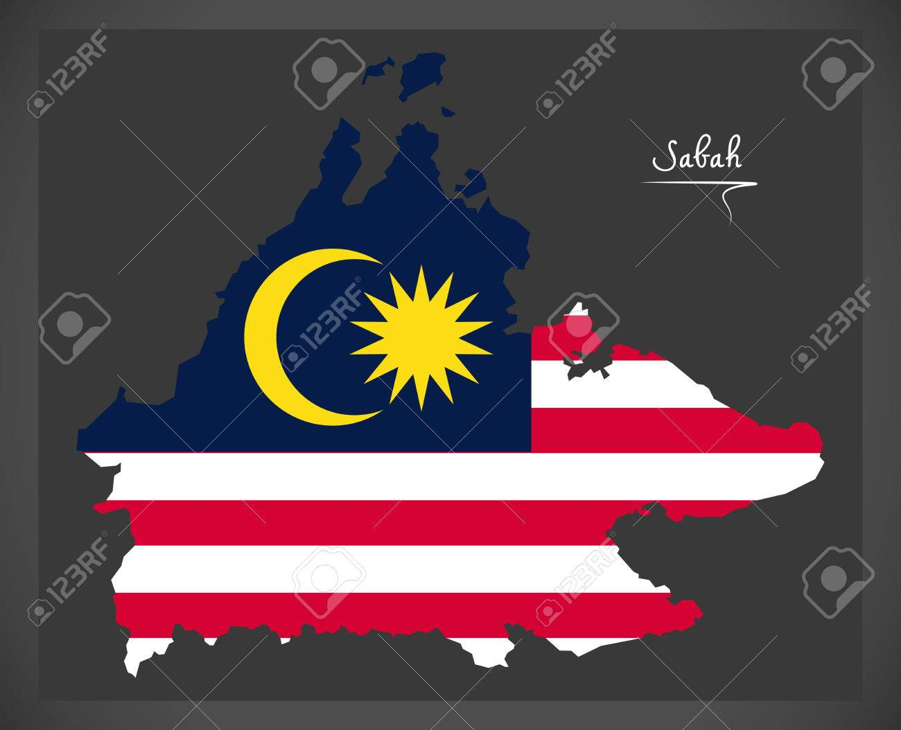 Sabah Malaysia map with Malaysian national flag illustration - 82689396