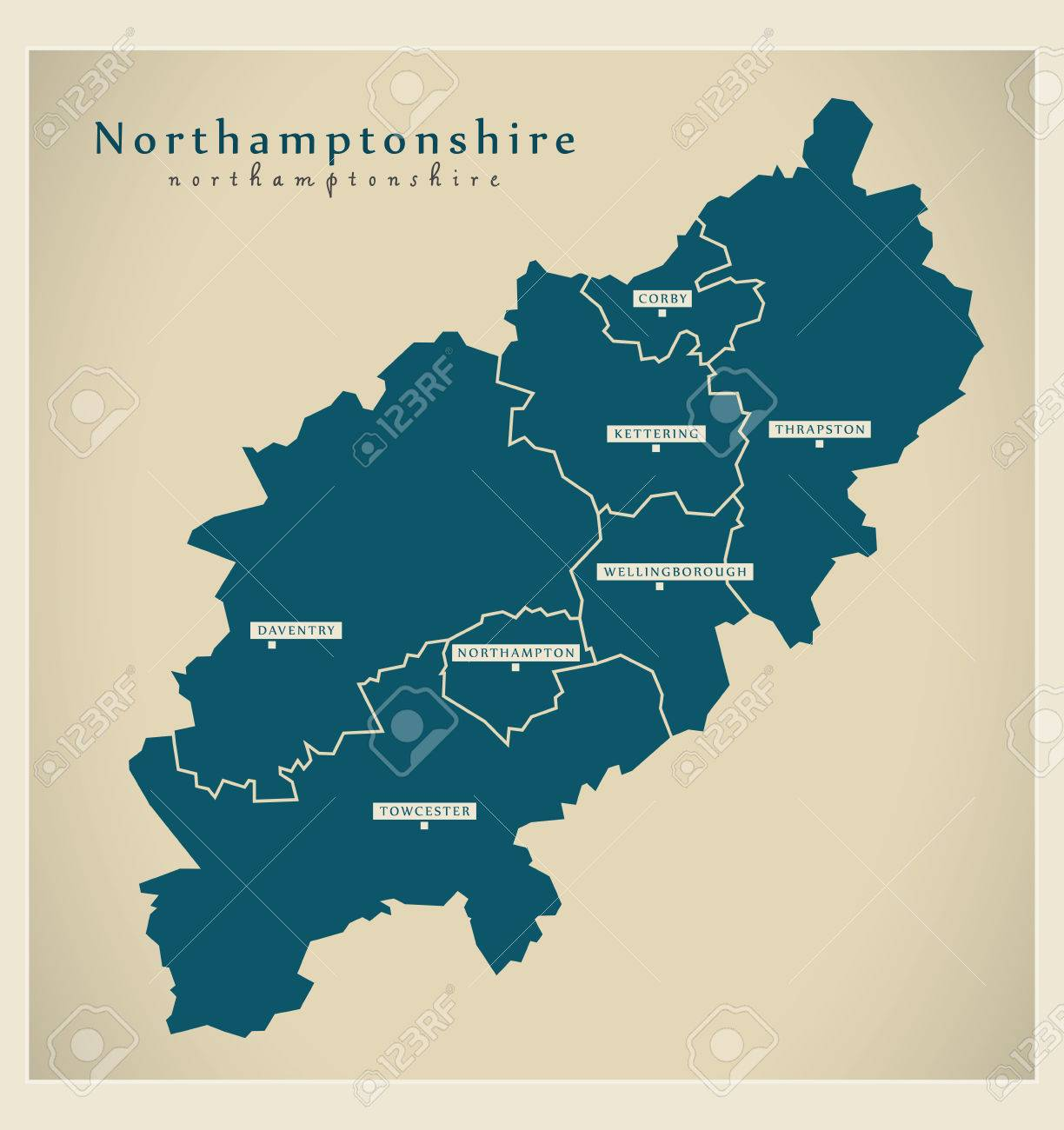 Map Of England Districts.Modern Map Northamptonshire County With Cities And Districts