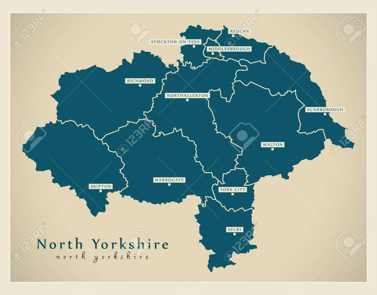 Map Of England Districts.Modern Map North Yorkshire County With Cities And Districts