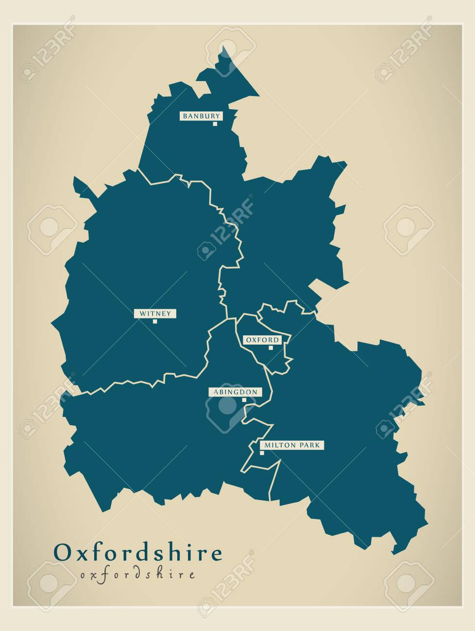 Map Of England Districts.Modern Map Oxfordshire County With Cities And Districts England