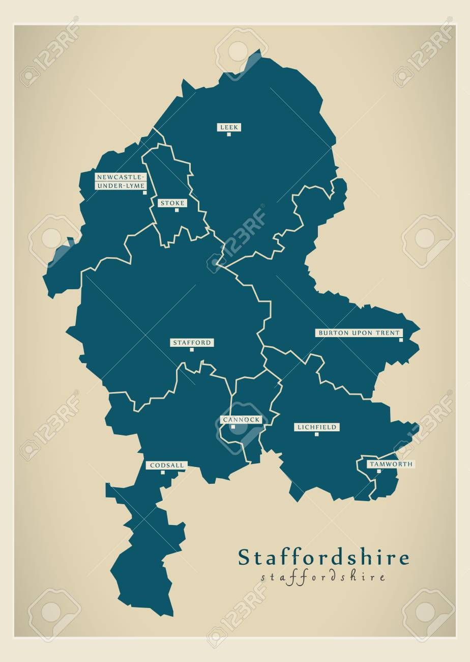 Map Of England Districts.Modern Map Staffordshire County With Cities And Districts England