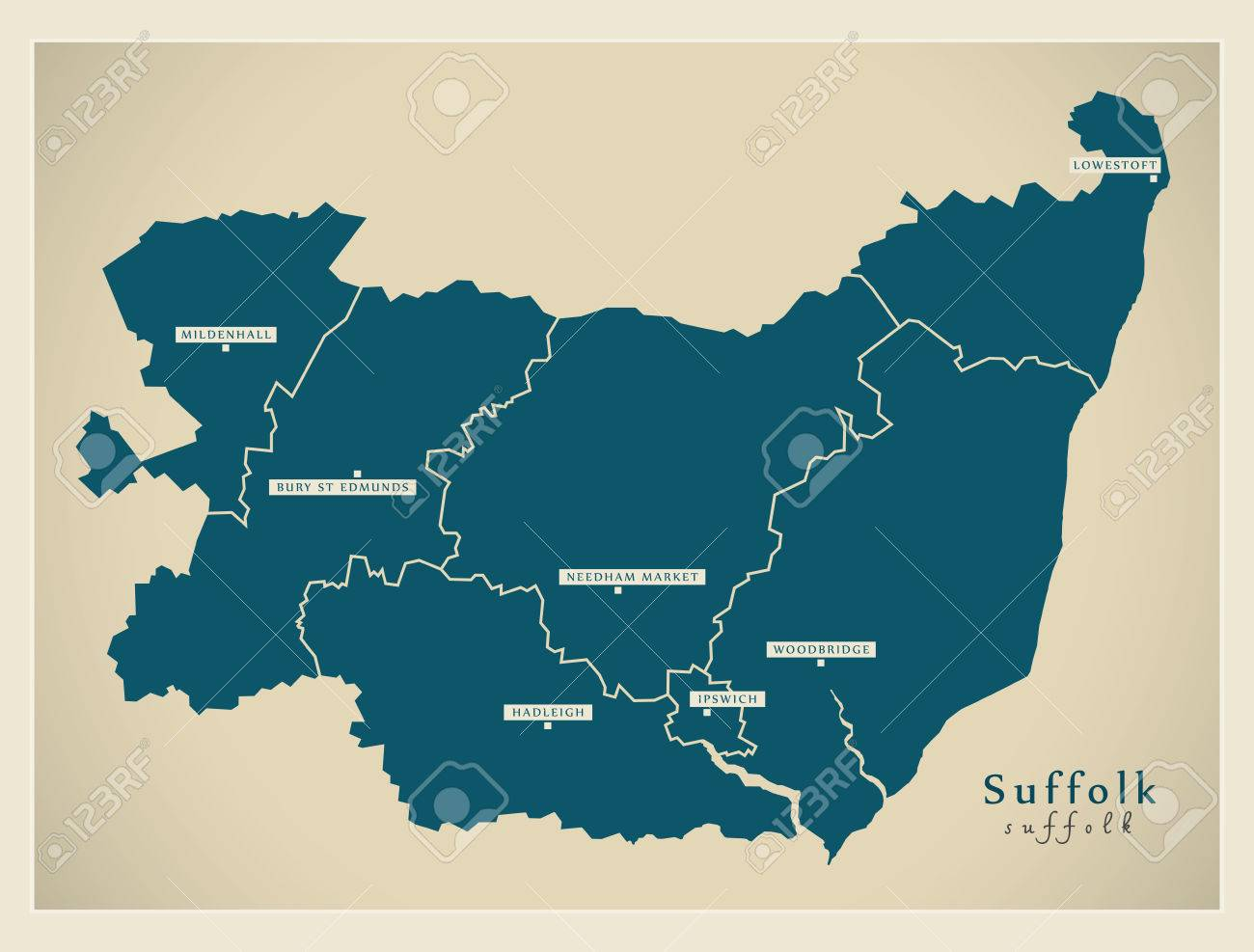 Map Of England Districts.Modern Map Suffolk County With Cities And Districts England
