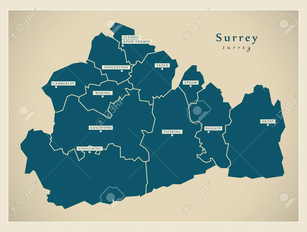 Map Of England Districts.Modern Map Surrey County With Cities And Districts England