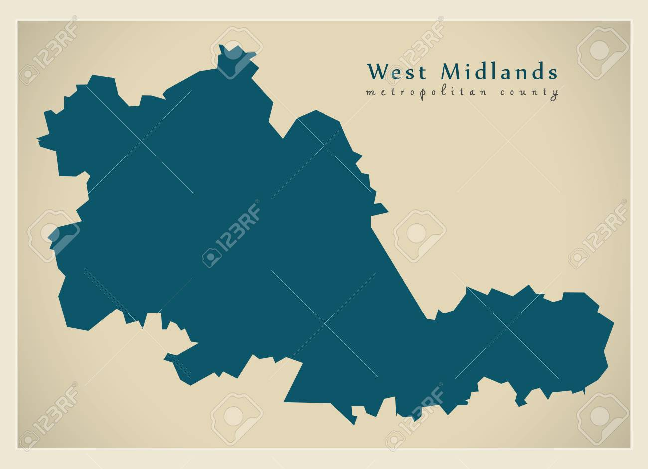 Modern Map West Midlands Metropolitan County England Uk Royalty