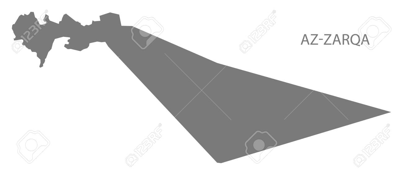 AzZarqa Jodran Governorate Map Grey Illustration Silhouette