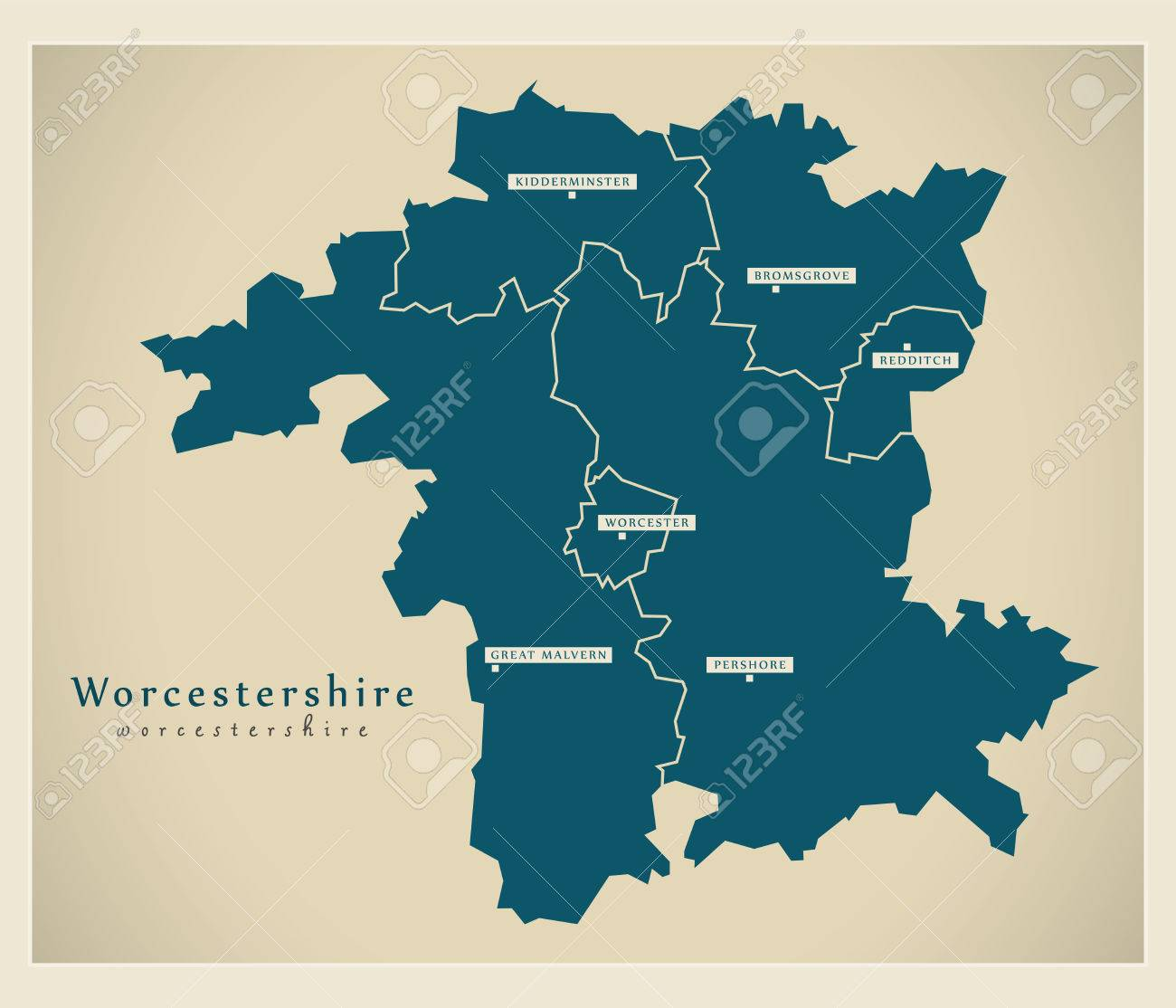 Map Of England Districts.Modern Map Worcestershire County With Cities And Districts