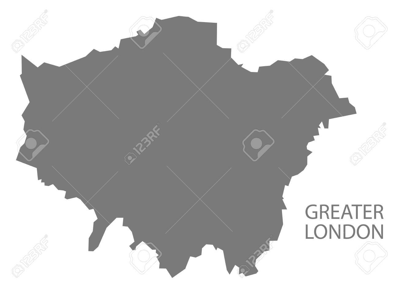 Greater London Administrative Area Map England Uk Grey Illustration