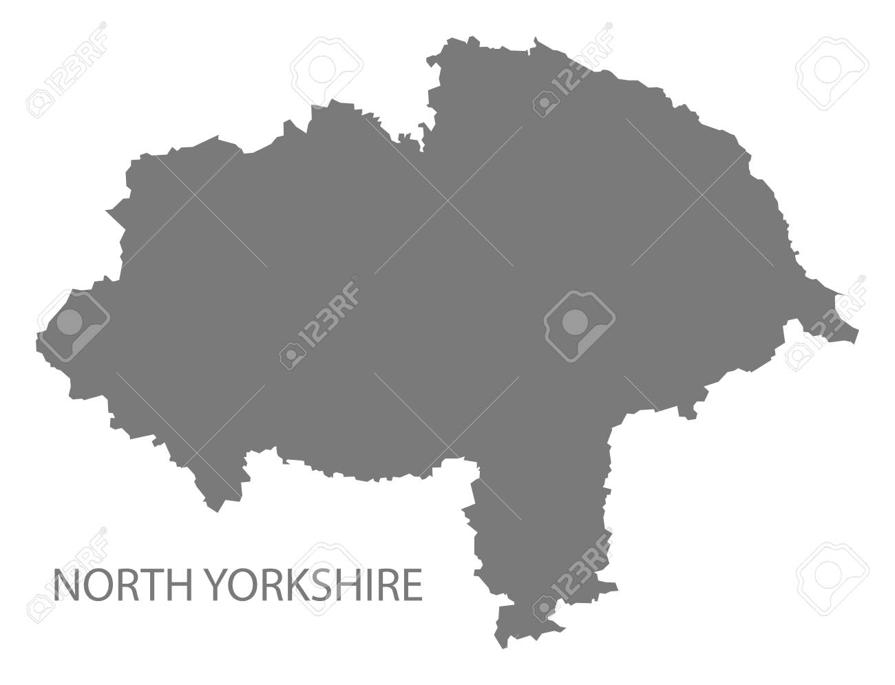Map Of England Showing Yorkshire.North Yorkshire County Map England Uk Grey Illustration Silhouette
