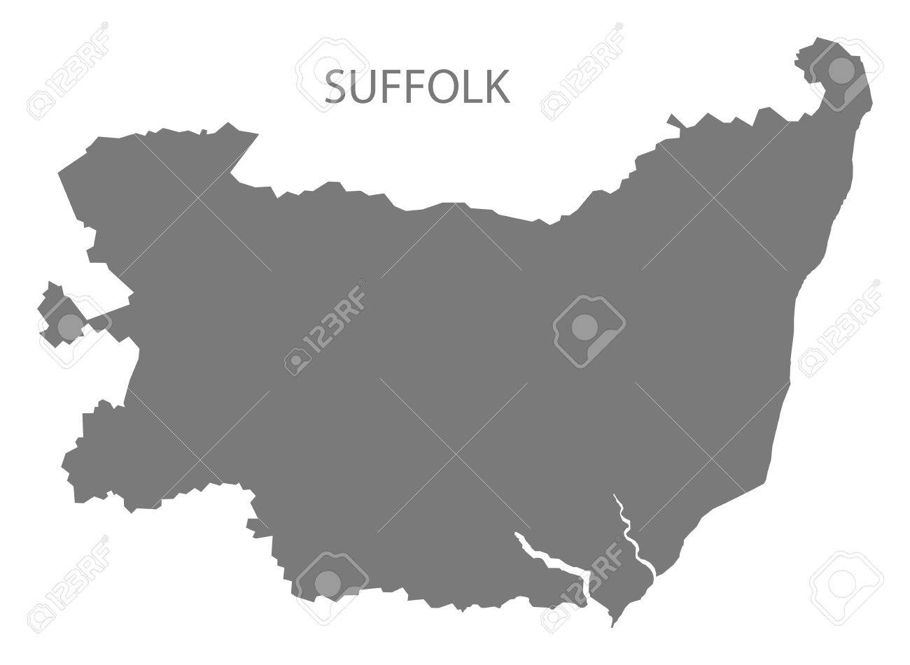 County Map Of England.Suffolk County Map England Uk Grey Illustration Silhouette Shape