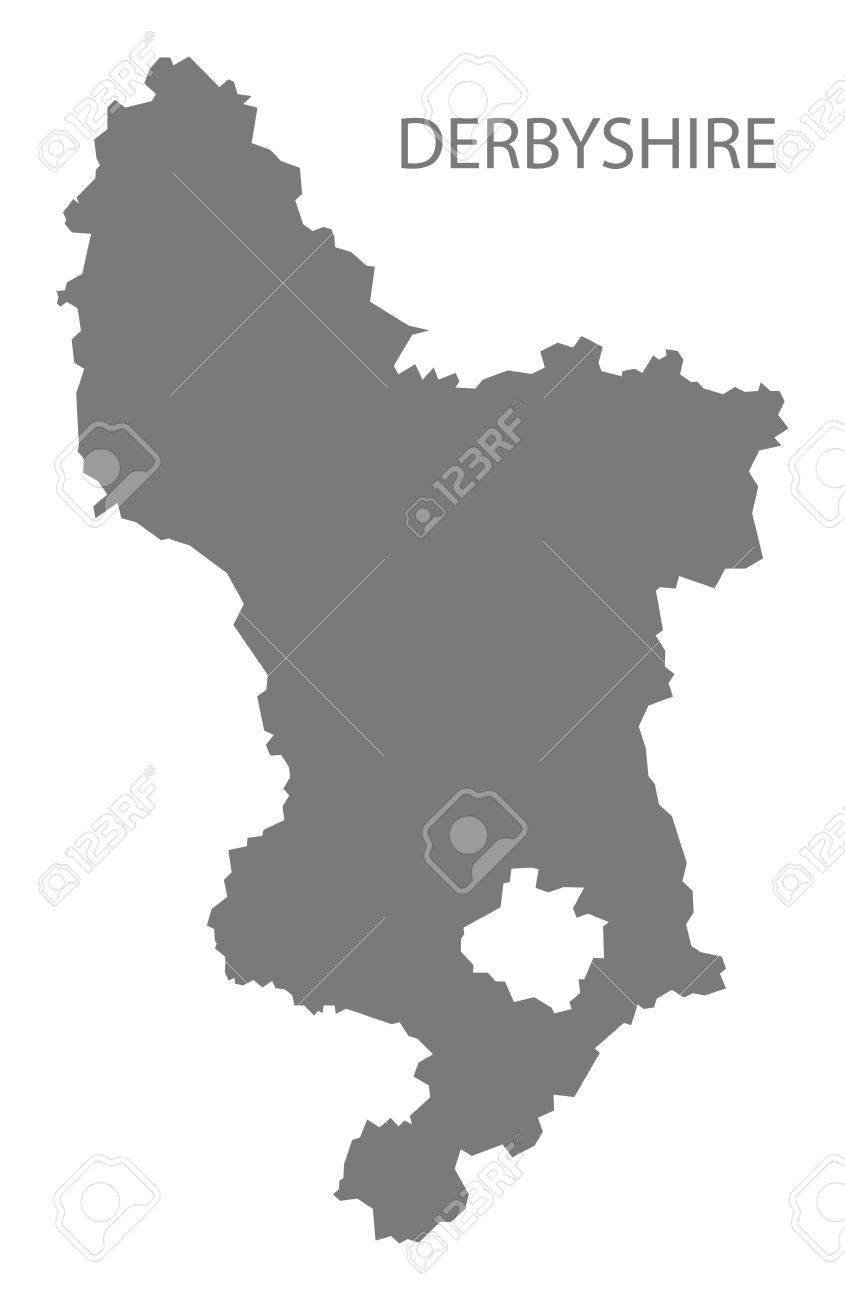 County Map Of England.Derbyshire County Map England Uk Grey Illustration Silhouette