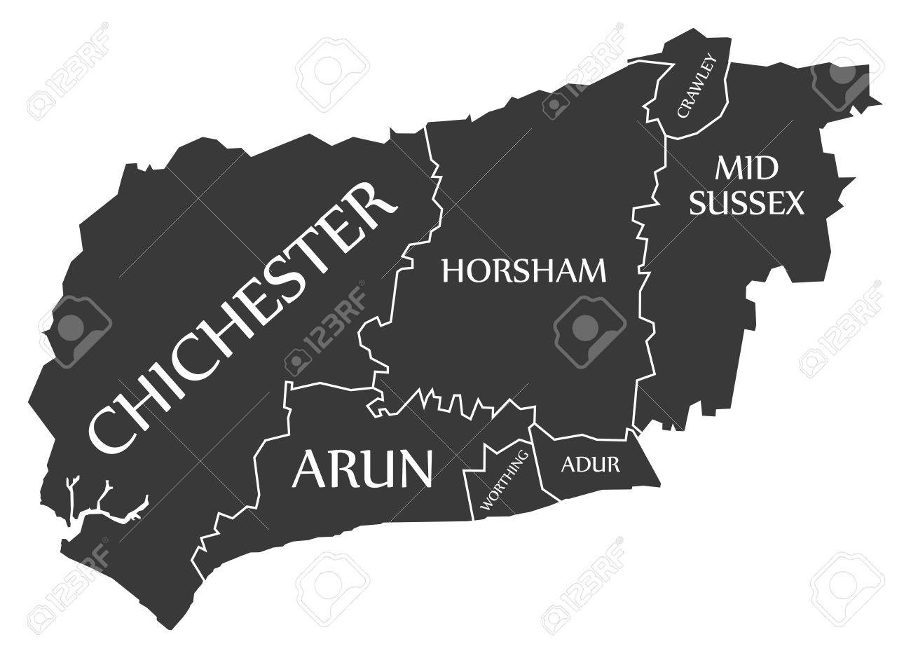 West Sussex County England Uk Black Map With White Labels
