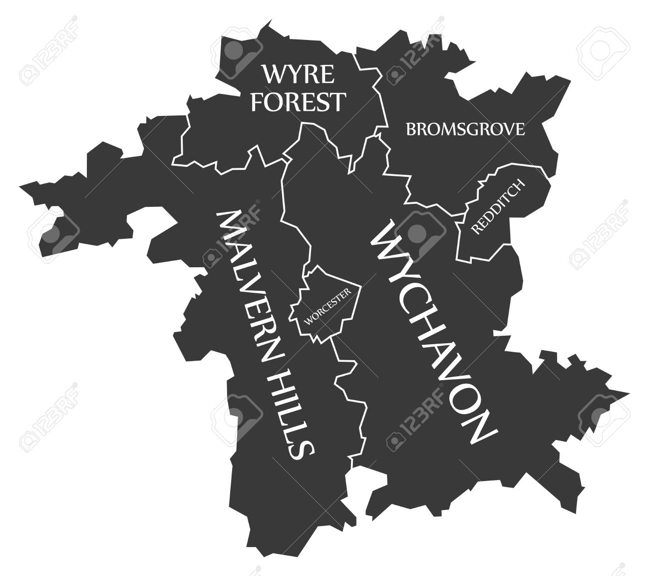 Worcestershire County England Uk Black Map With White Labels