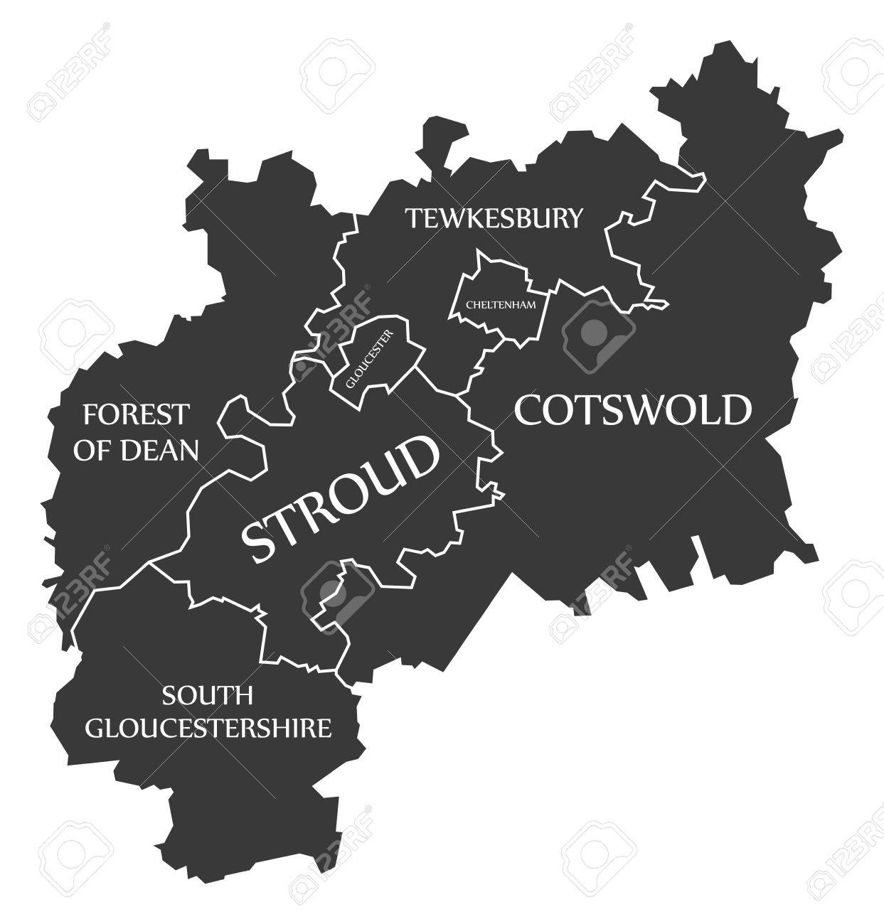 Map Of England Gloucestershire.Gloucestershire County England Uk Black Map With White Labels