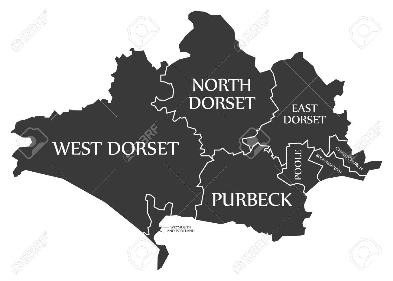 Dorset county England UK black map with white labels illustration