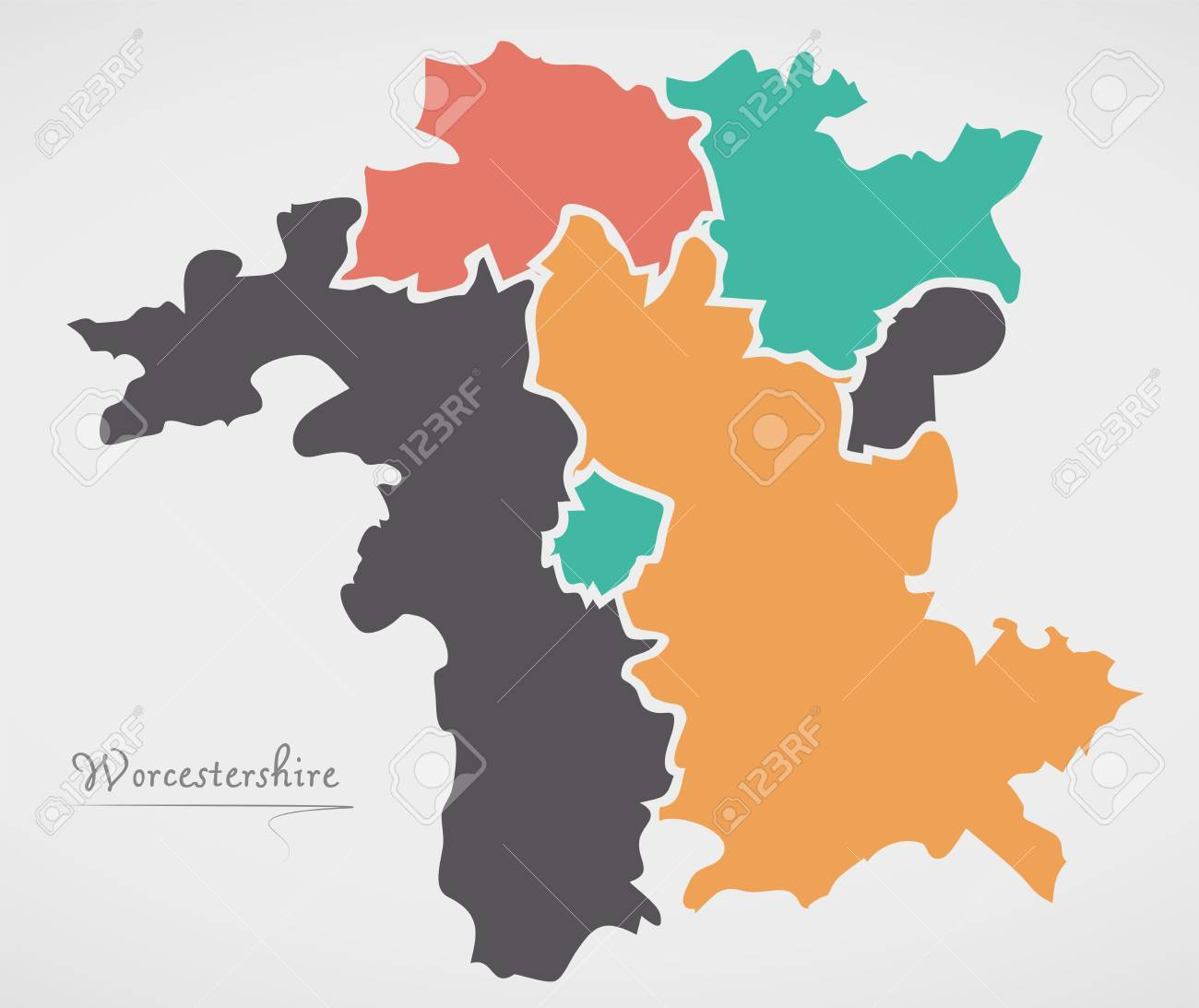 Worcestershire England Map With States And Modern Round Shapes