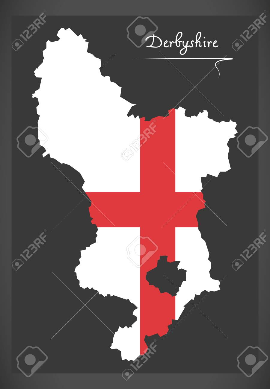 Map Of England Derbyshire.Derbyshire Map England Uk With English National Flag Illustration