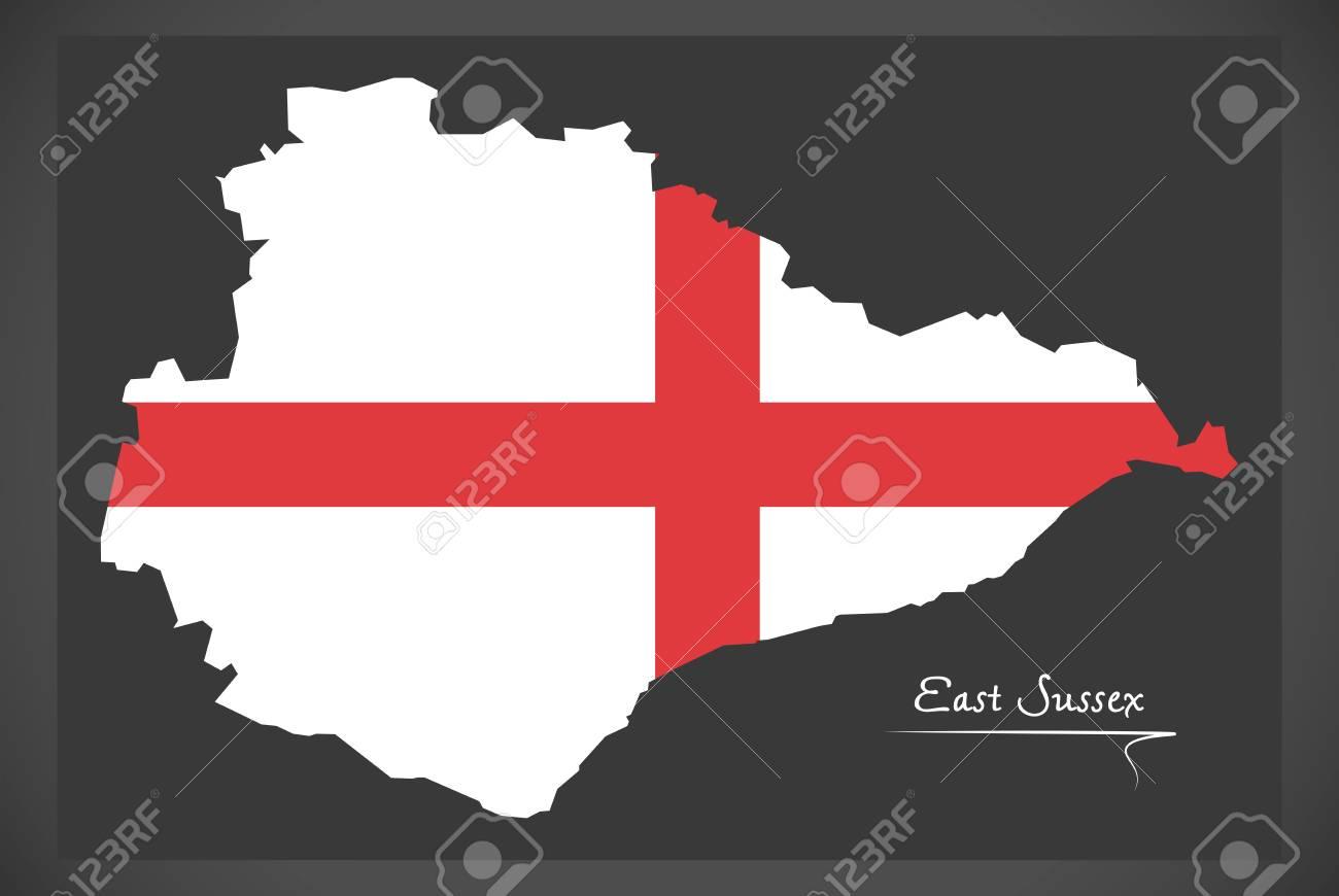East Sussex Map England Uk With English National Flag Illustration