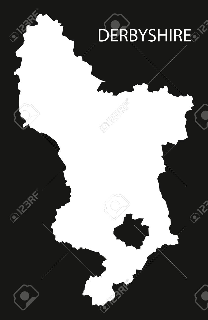 Map Of England Derbyshire.Derbyshire England Uk Map Black Inverted Silhouette Illustration
