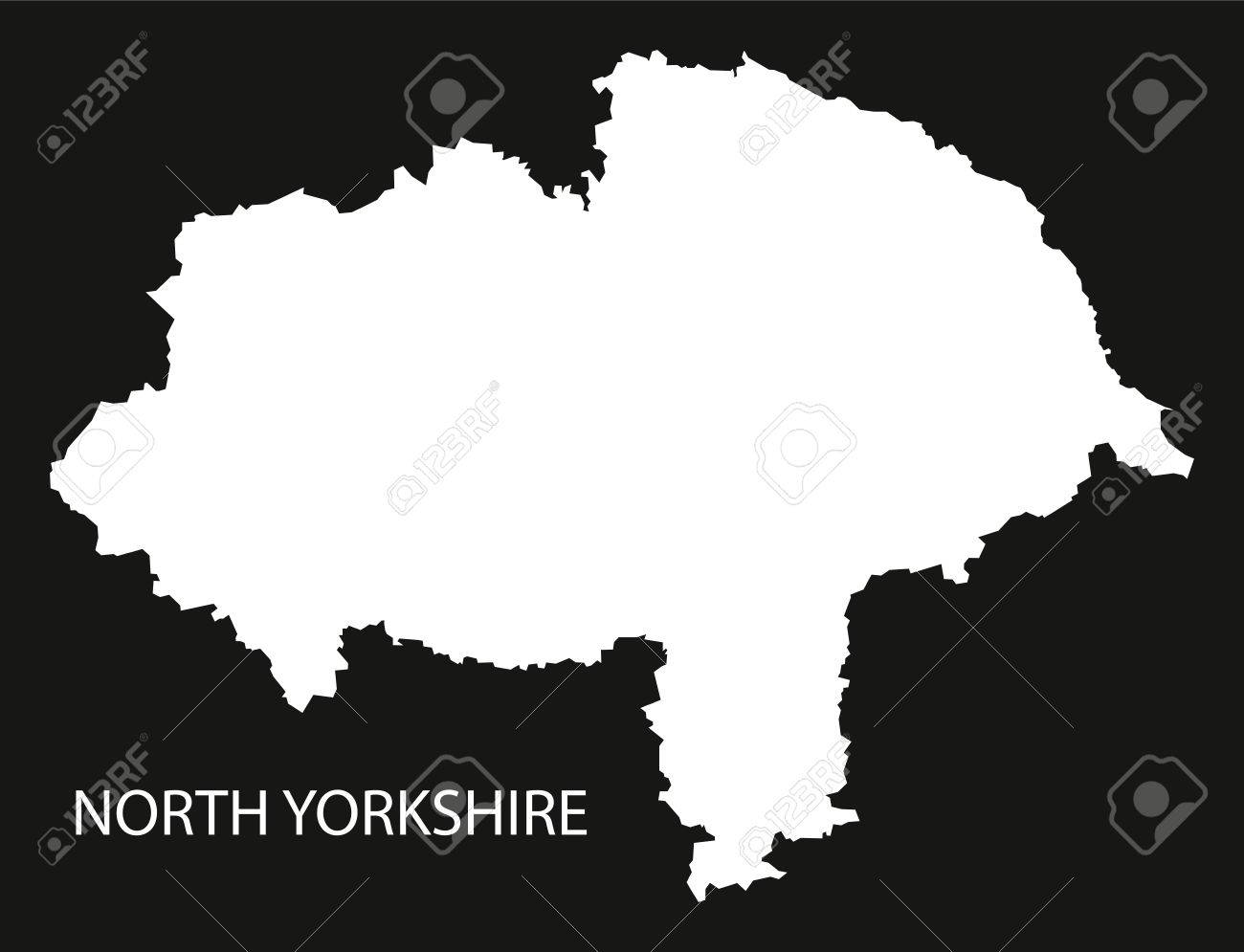 North Yorkshire England Uk Map Black Inverted Silhouette