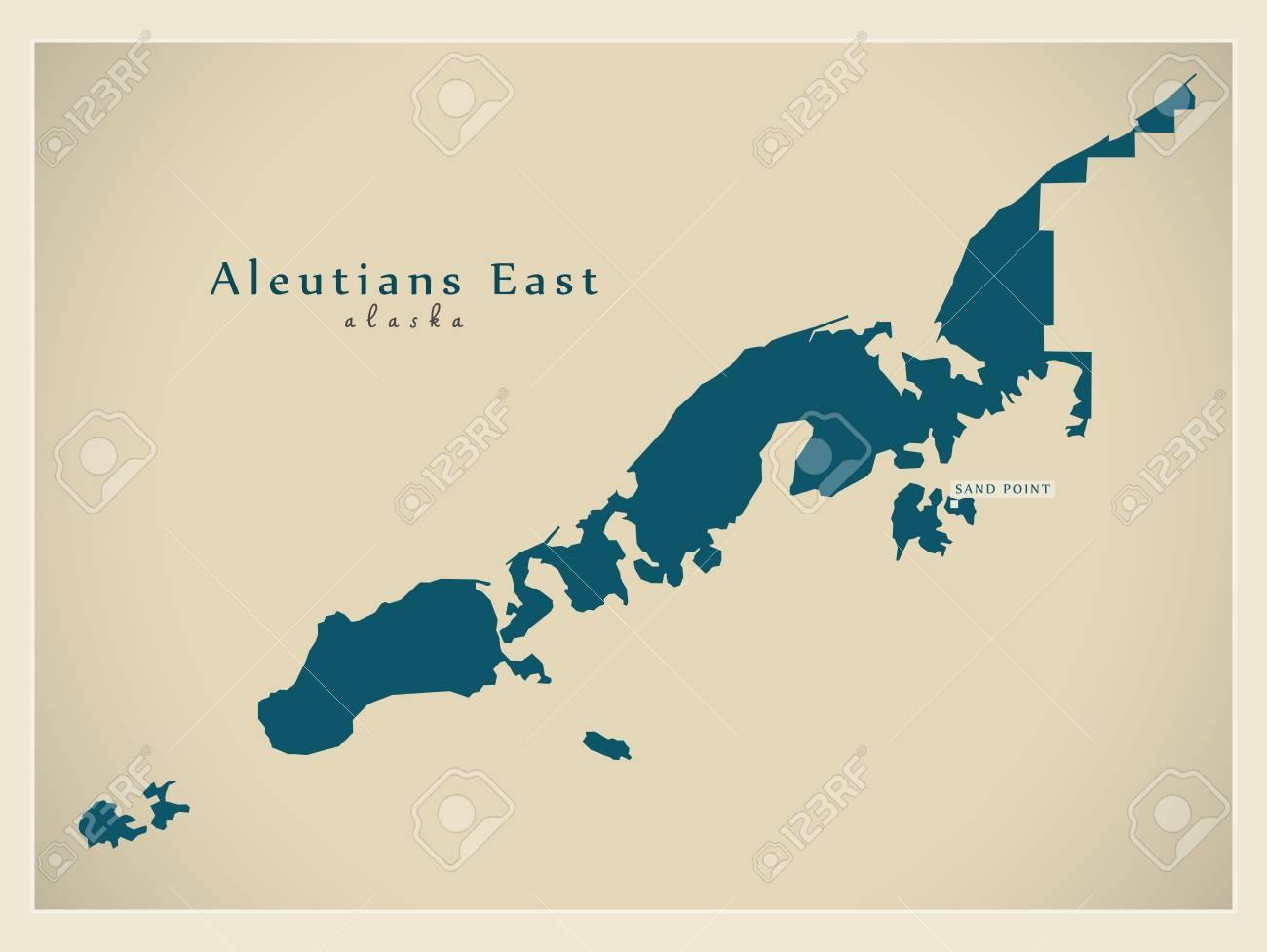 Modern Map - Aleutians East Alaska County USA Illustration Royalty ...