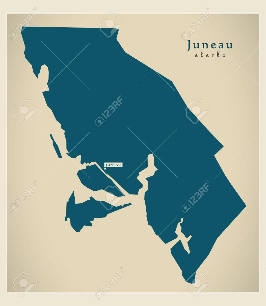 Modern Map - Juneau Alaska county USA illustration