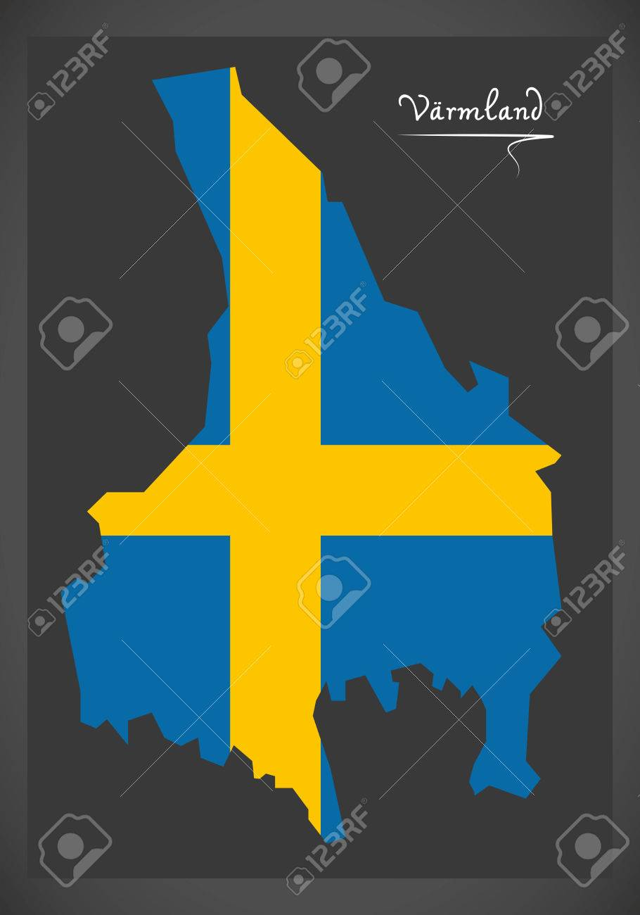 Varmland Map Of Sweden With Swedish National Flag Illustration - Sweden map varmland