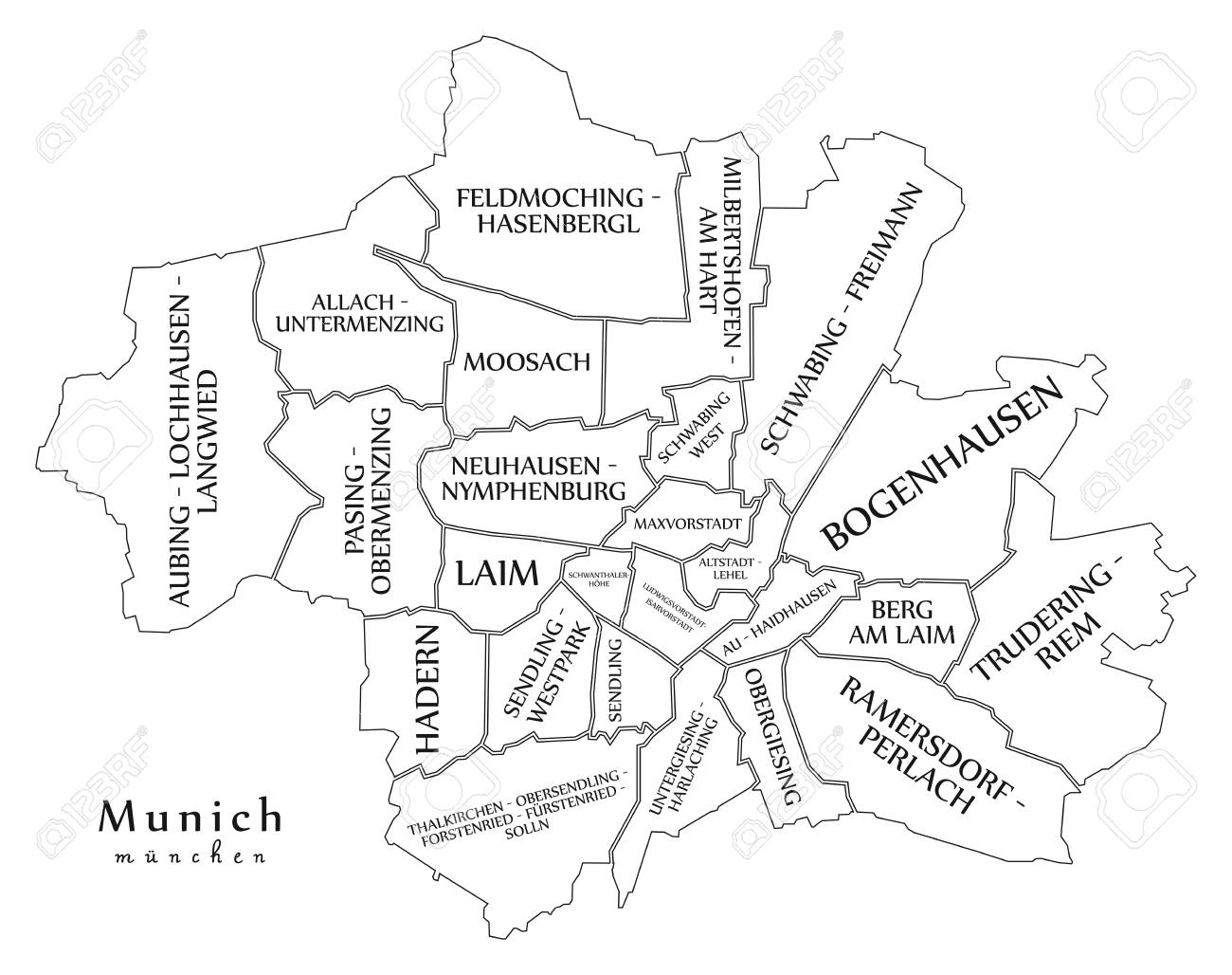 München Karte Deutschland.Stock Photo