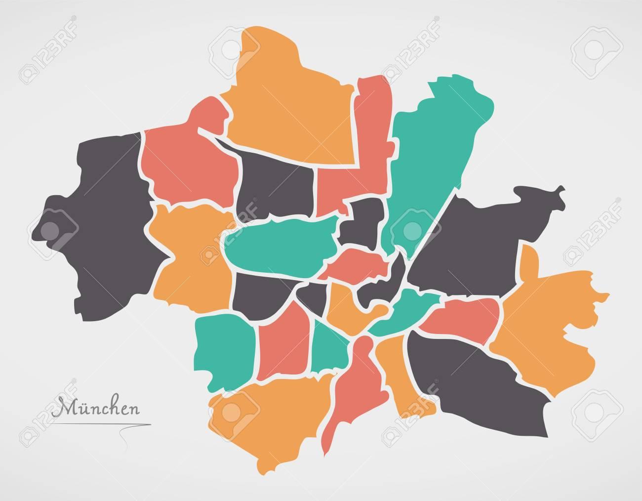 Munchen Karte Mit Stadtbezirke Und Modernen Runden Formen