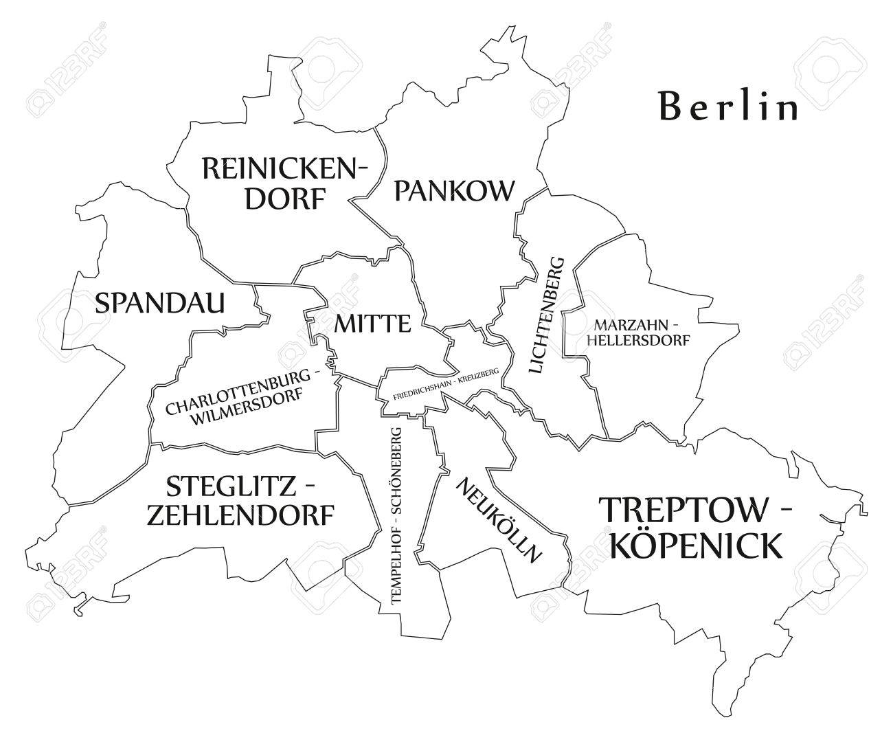 Modern City Map - Berlin City Of Germany With Boroughs And Titles ...
