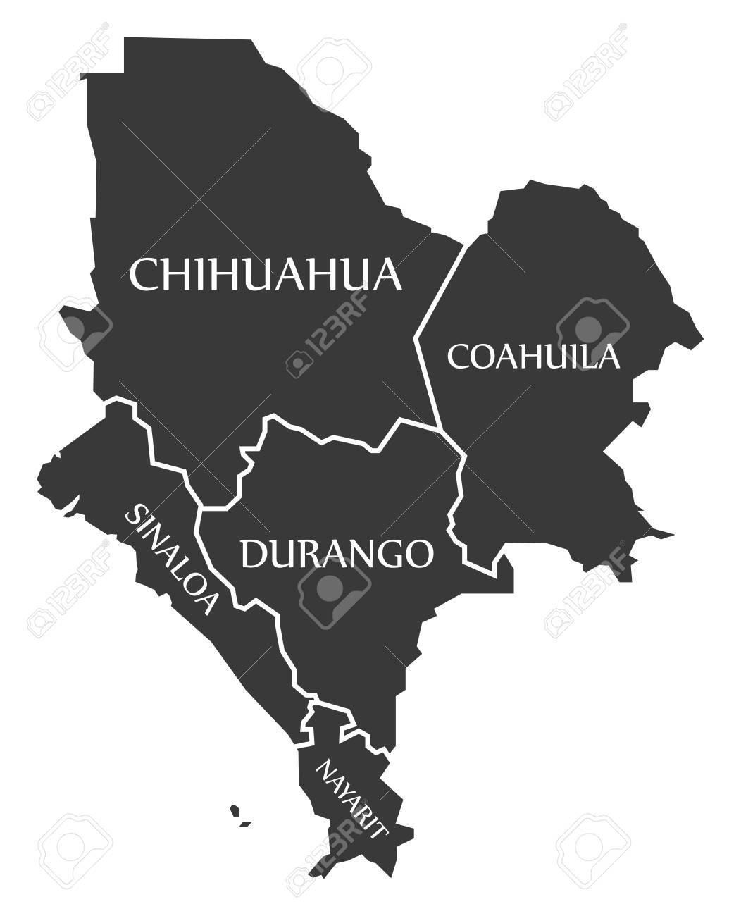 chihuahua coahuila sinaloa durango nayarit map mexico illustration stock vector