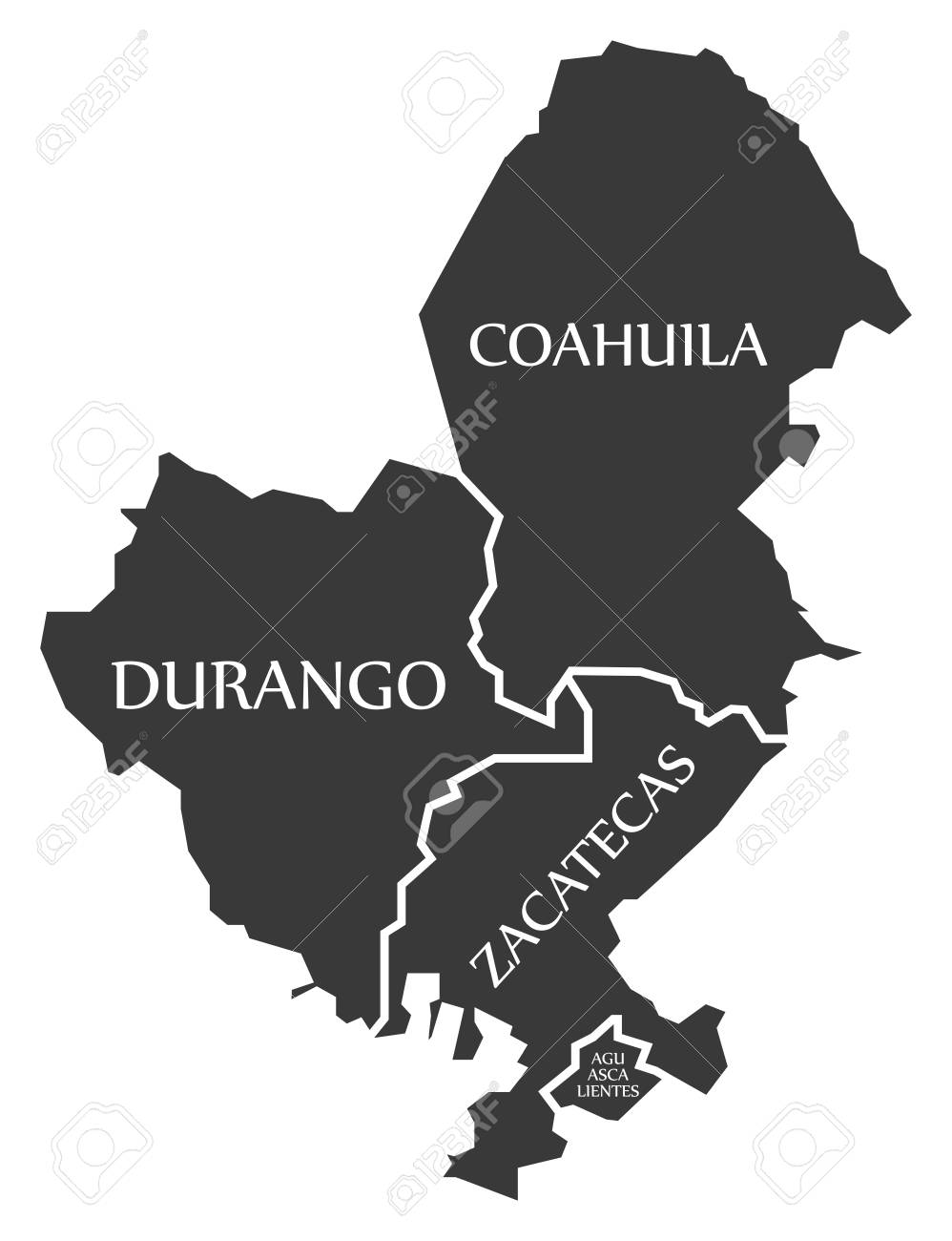 Durango Coahuila Zacatecas Aguascalientes Map Mexico