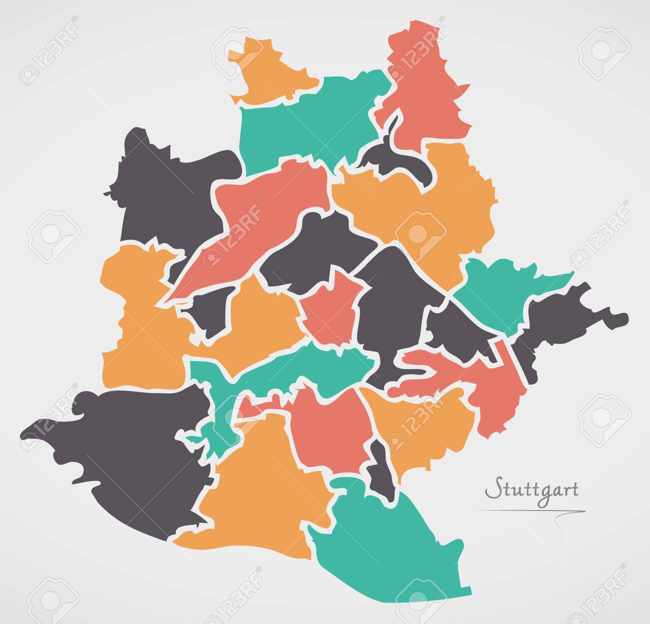 Stuttgart Map With Boroughs And Modern Round Shapes Royalty Free