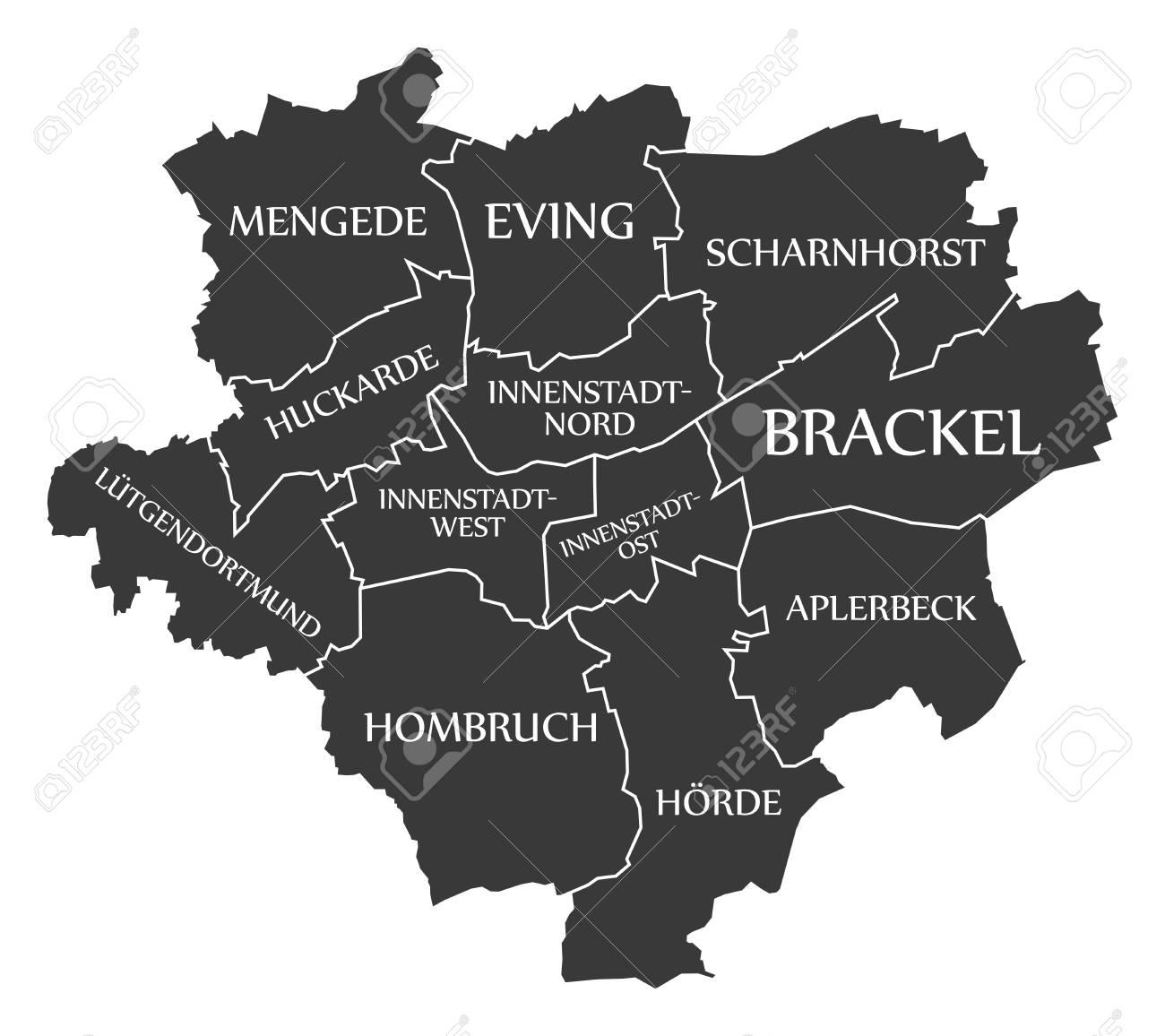 Dortmund Germania Cartina.Vettoriale Mappa Della Citta Di Dortmund Germania De Etichetta Illustrazione Nera Image 84950365