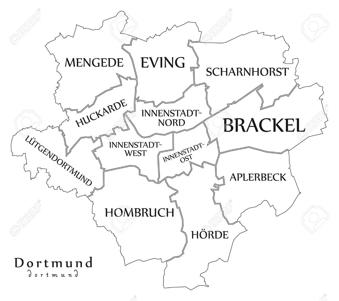 modern city map dortmund city of germany with boroughs and titles de outline map stock