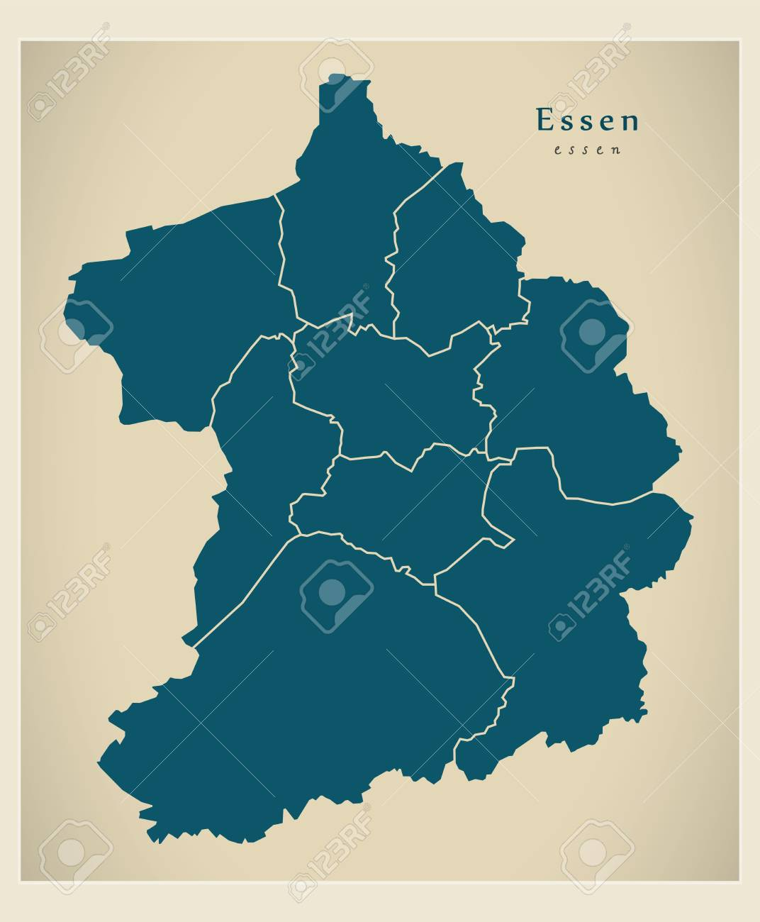 Modern City Map Essen City Of Germany With Boroughs De Royalty