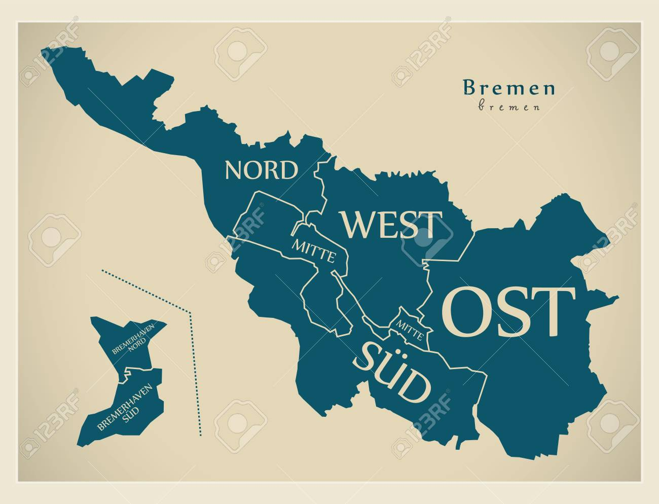 Modern City Map - Bremen city of Germany with boroughs and titles..