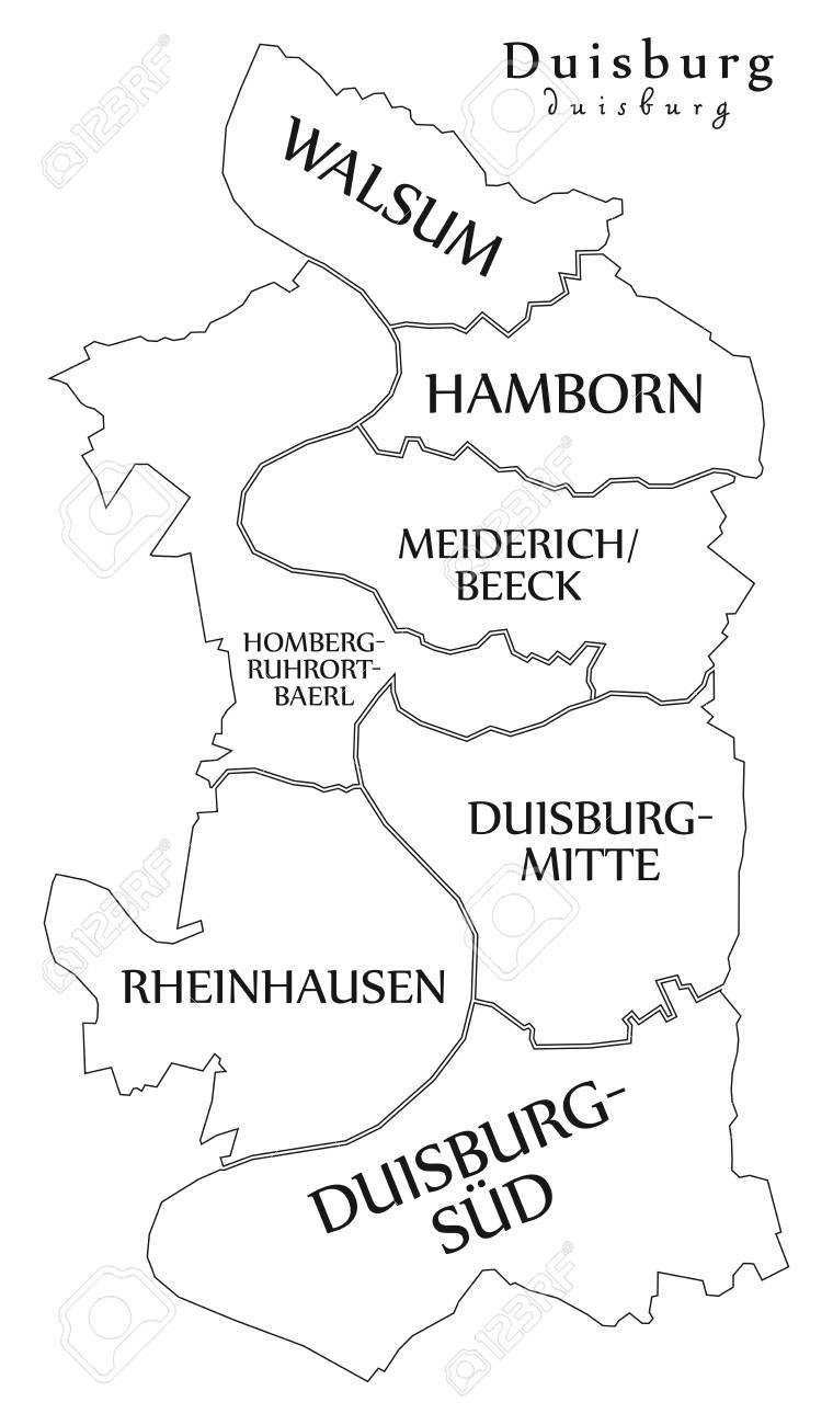 Outline Map Of Germany.Modern City Map Duisburg City Of Germany With Boroughs And