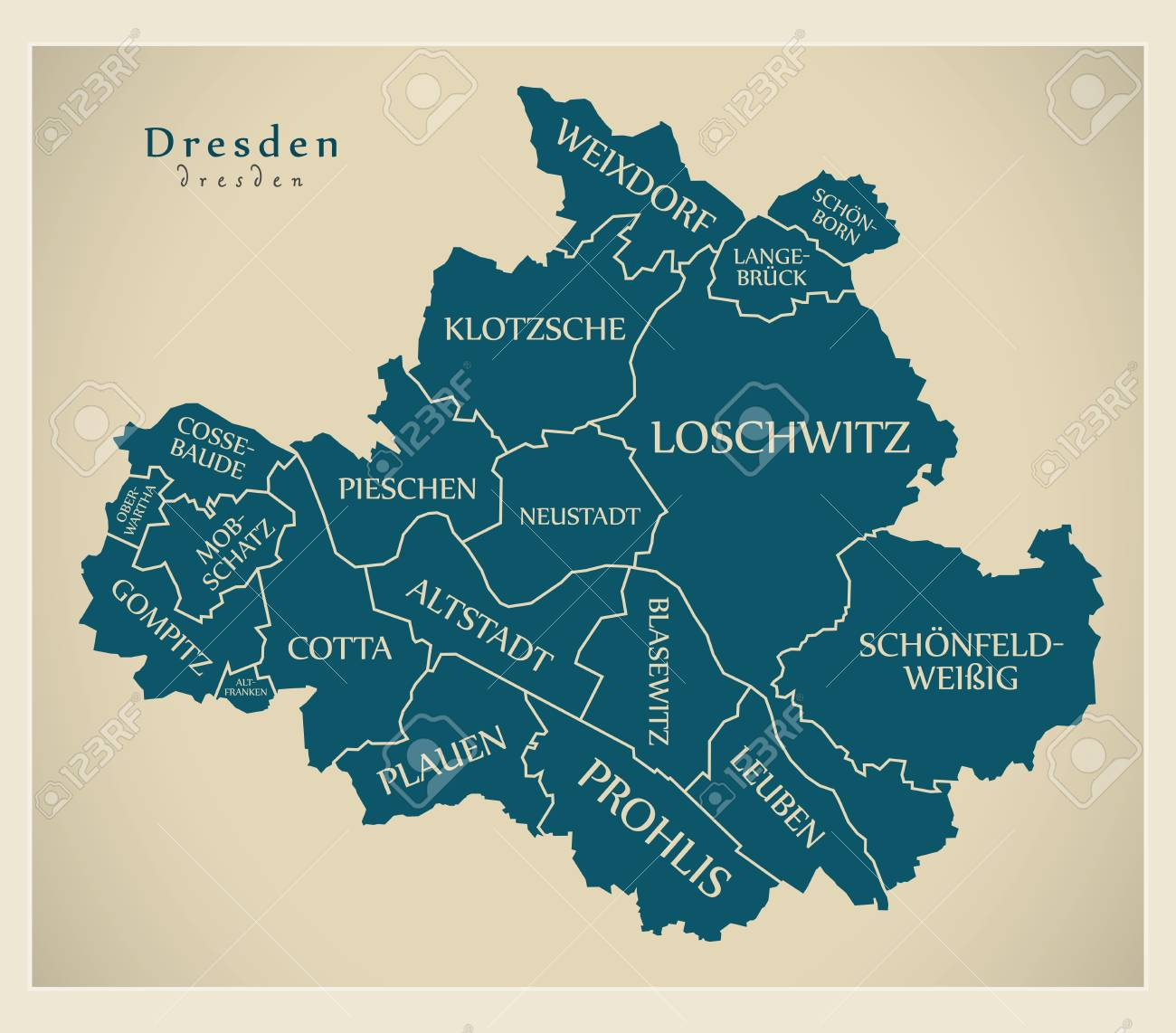 Dresden On Map Of Germany.Modern City Map Dresden City Of Germany With Boroughs And Titles