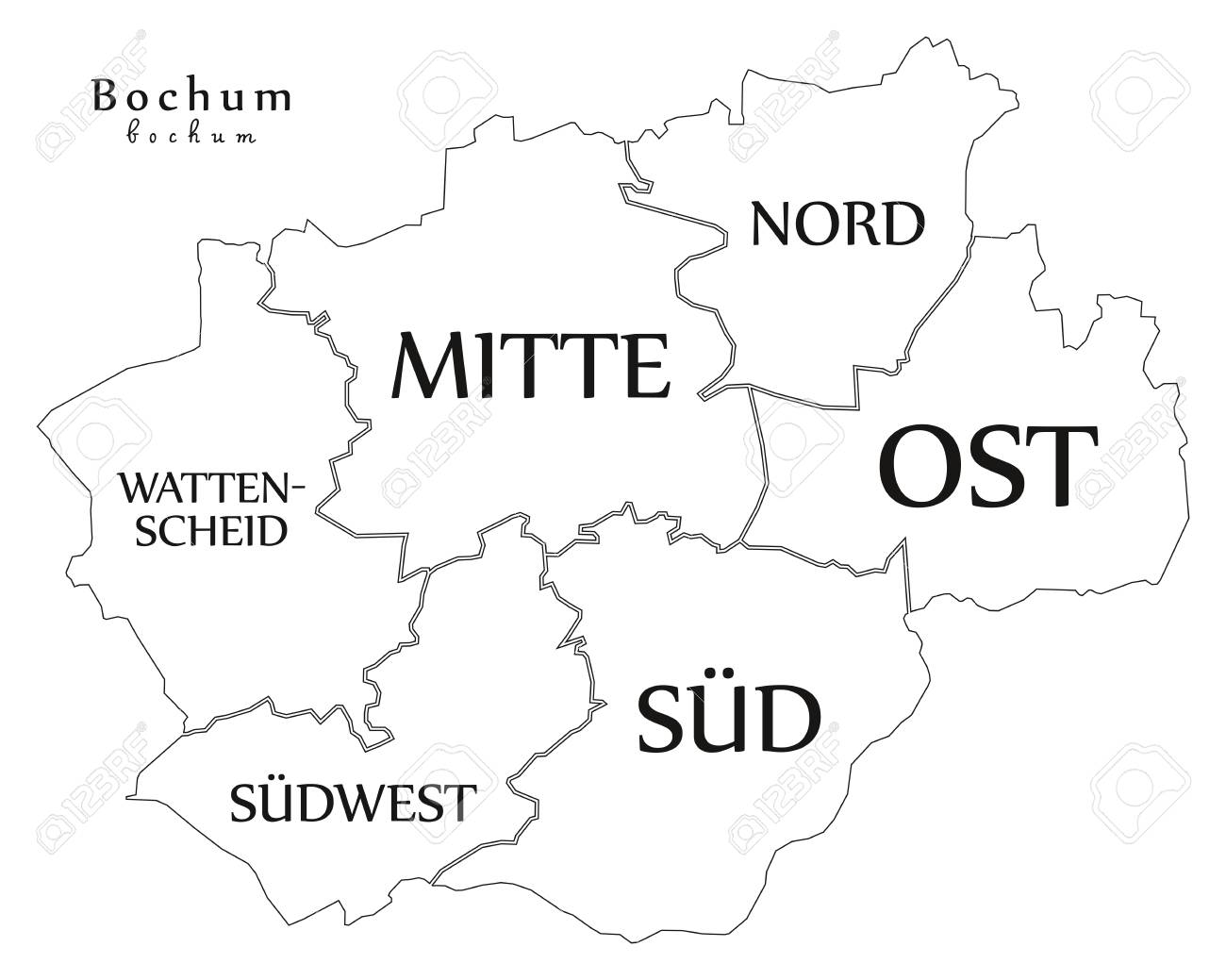 Modern City Map Bochum City Of Germany With Boroughs And Titles