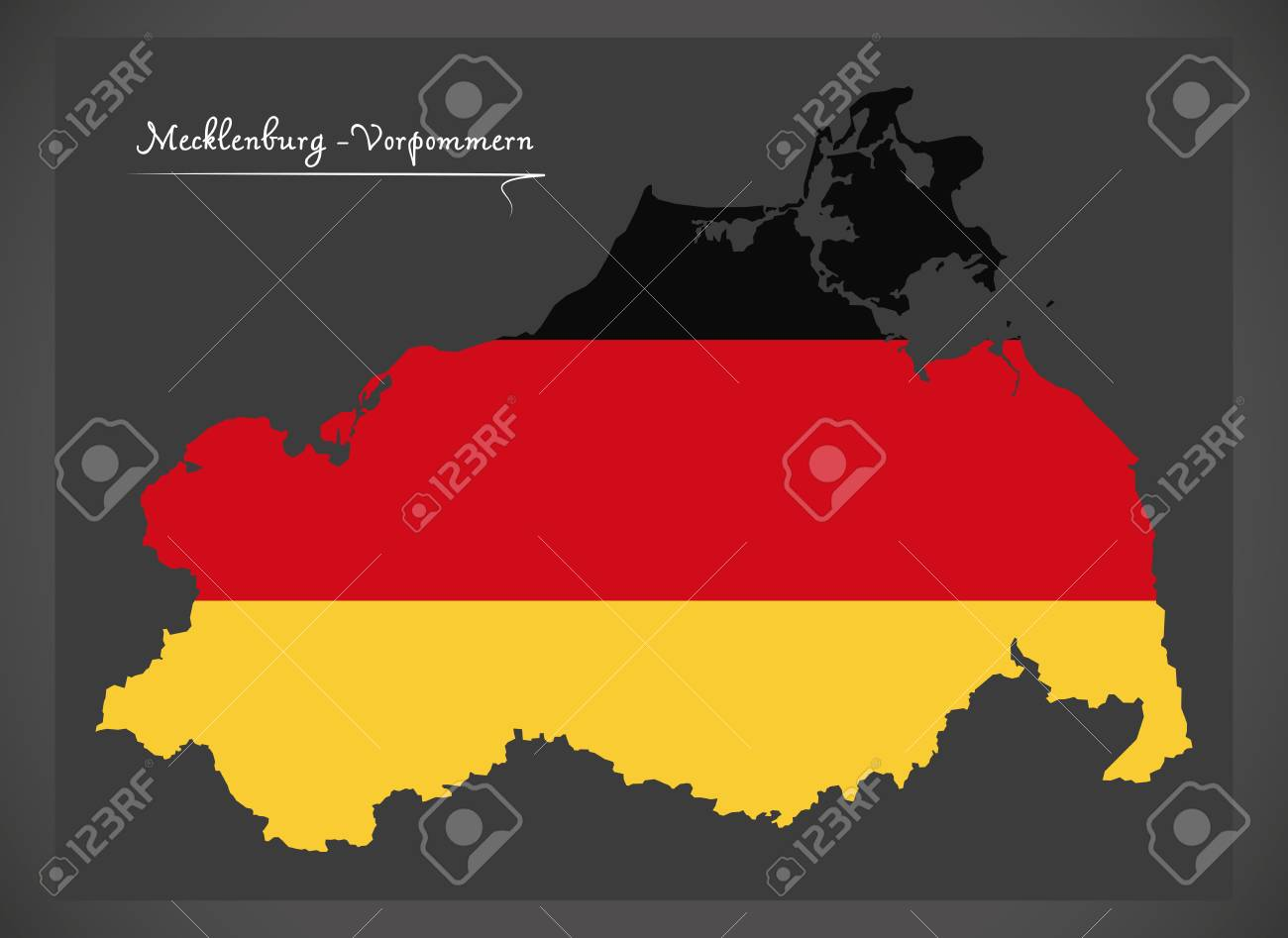 MecklenburgVorpommern Map Of Germany With German National Flag