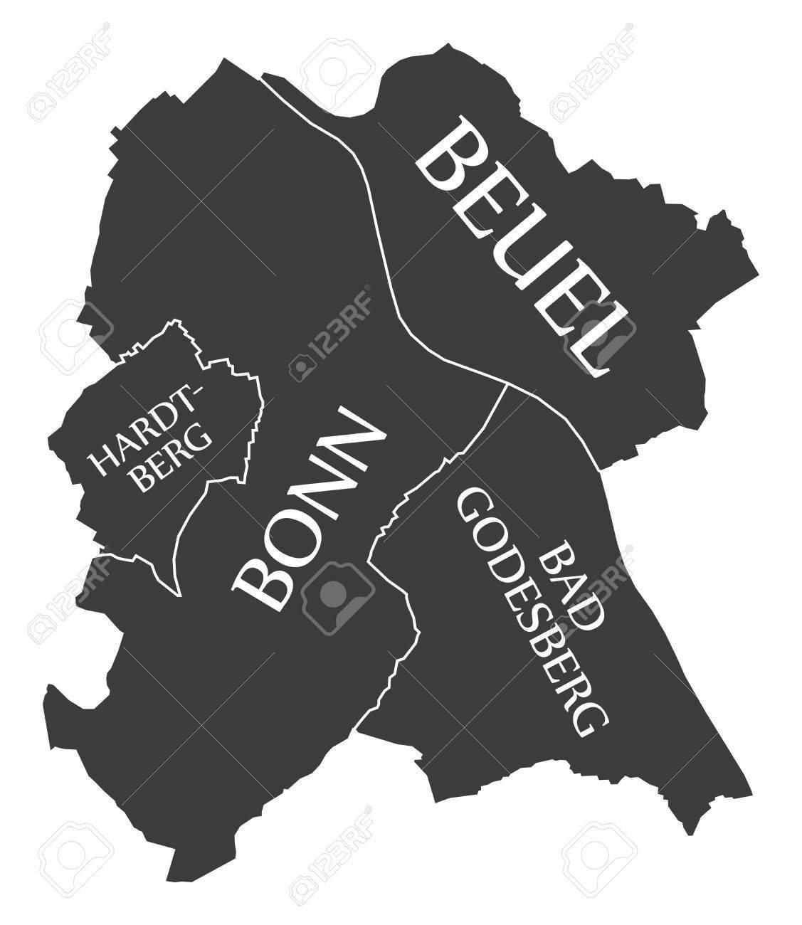 Carte Allemagne Bonn.Carte De La Ville De Bonn Allemagne De Marque Une Illustration Noire