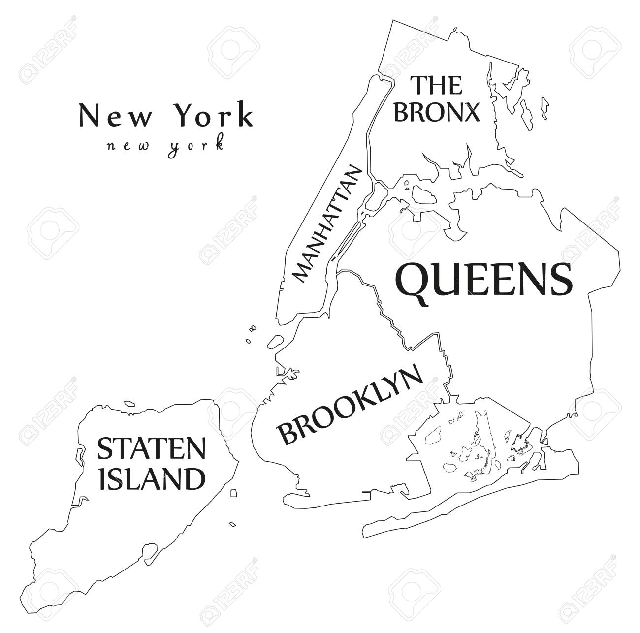 Free Printable Map Of New York City.Modern City Map New York City Of The Usa With Boroughs And